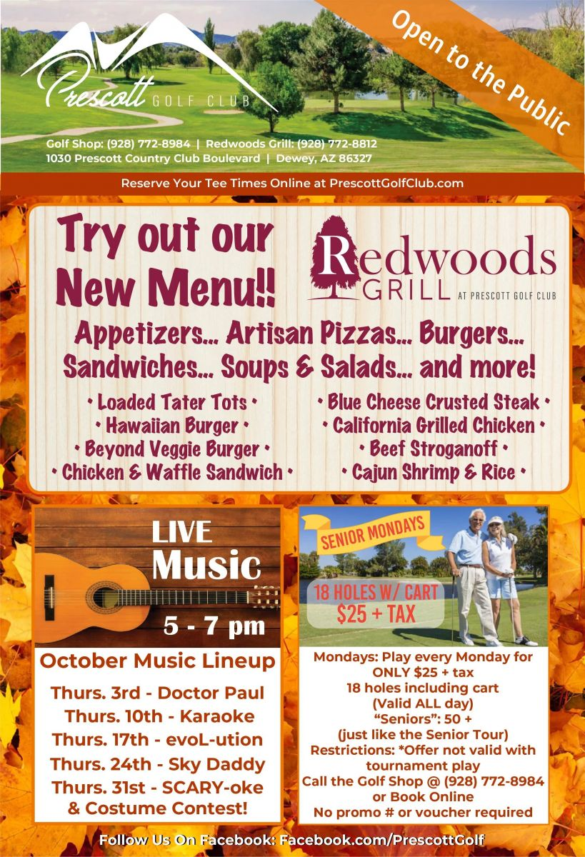 Flyer for the new Redwoods Grill menu