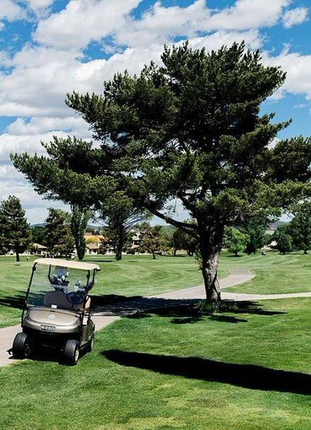 A fleet of golf carts at Prescott Golf Club
